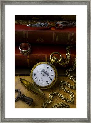 Train Pocket Watch And Old Books Framed Print