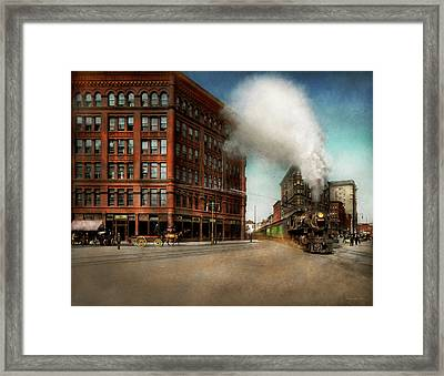 Framed Print featuring the photograph Train - Respect The Train 1905 by Mike Savad