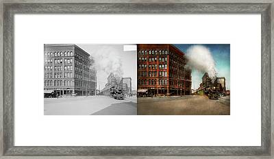 Framed Print featuring the photograph Train - Respect The Train 1905 - Side By Side by Mike Savad