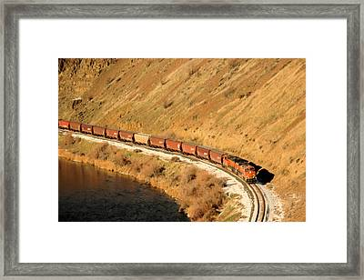 Train Rounding The Bend Framed Print by Jeff Swan