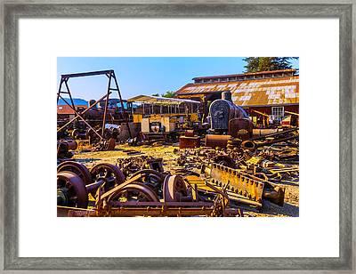 Train Scrap Yard Felton California Framed Print
