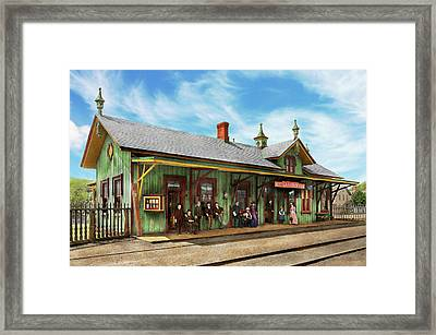 Framed Print featuring the photograph Train Station - Garrison Train Station 1880 by Mike Savad