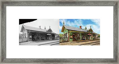 Framed Print featuring the photograph Train Station - Garrison Train Station 1880 - Side By Side by Mike Savad