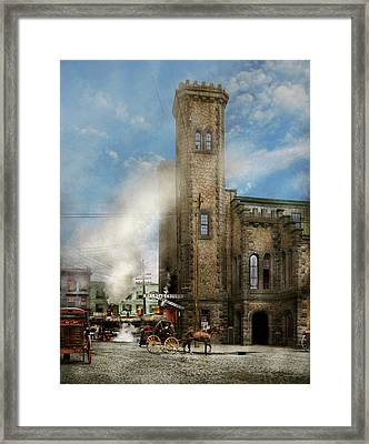 Train Station - Look Out For The Train 1910 Framed Print by Mike Savad