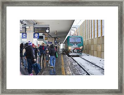 Train Station Under The Snow Framed Print by Andre Goncalves