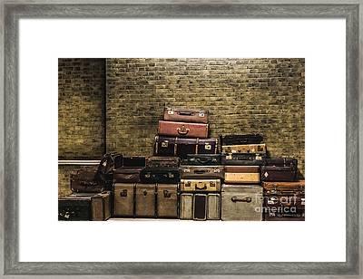 Train Station Vintage Luggage Framed Print