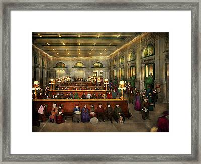 Train Station - Waiting In Grand Central Station 1902 Framed Print by Mike Savad