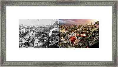 Train Station - Wuppertal Suspension Railway 1913 - Side By Side Framed Print by Mike Savad