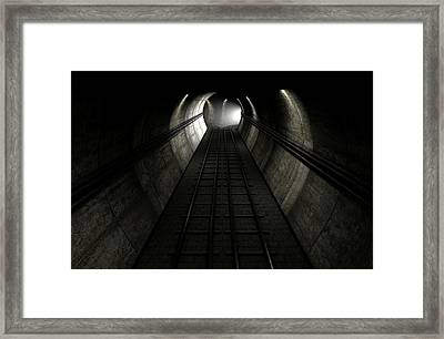 Train Tracks And Approaching Train Framed Print