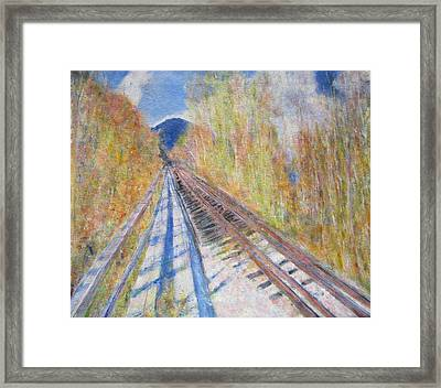 Train Tracks Up North Framed Print by Glenda Crigger