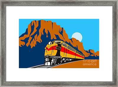 Train Traveling With Canyon Framed Print by Aloysius Patrimonio