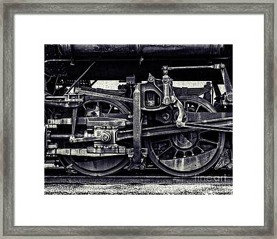 Train Wheels Cropped Framed Print by Emily Kay