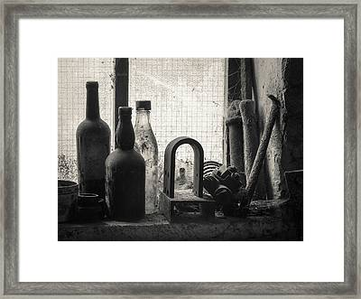 Train Yard Window Framed Print by Dave Bowman