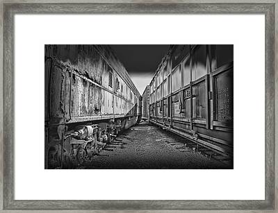 Train Yards Black And White Framed Print