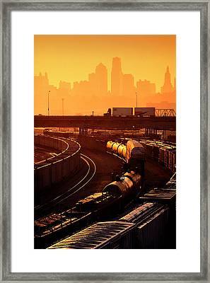 Trains At Sunrise Framed Print