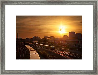 Trains - Berlin Framed Print by Nico Trinkhaus