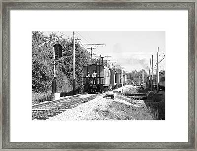 Trains Caboose Bw Framed Print by Thomas Woolworth