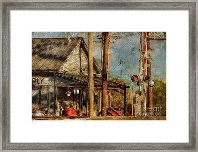 Train's Coming - Berryville Farm Supply Framed Print by Lois Bryan