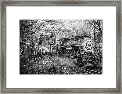 Train's Coming Black And White Framed Print by Debra and Dave Vanderlaan