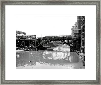 Framed Print featuring the photograph Trains Cross Jack Knife Bridge - Chicago C. 1907 by Daniel Hagerman