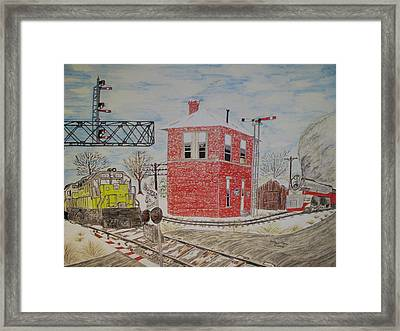 Framed Print featuring the painting Trains In Motion by Kathy Marrs Chandler