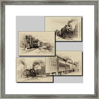 Trains Irm Collage Heirloom Finish Square Framed Print by Thomas Woolworth