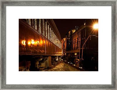 Trains Too Close Framed Print by Kenneth Sponsler