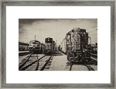 Trains Triple Engine Power Sepia Framed Print by Thomas Woolworth