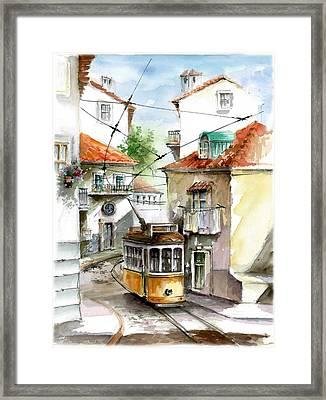 Tram 28 At Graca Lisbon  Framed Print