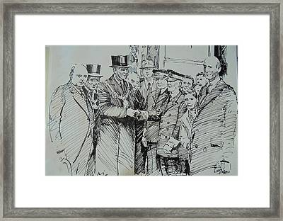 Framed Print featuring the drawing Tram Drivers Retirement. by Mike Jeffries