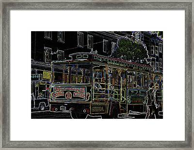 Tram In Sf Framed Print by Vijay Sharon Govender