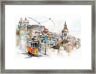 Tram Lisbon Graca Sao Vicente Framed Print