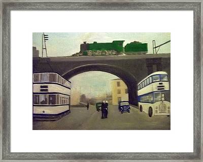 1950s Tram, Locomotive, Bus And Cars In Sheffield  Framed Print