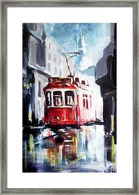 Tram On The Street Framed Print by Zlatko Music