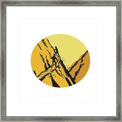 Trampers Climbing Steep Path Mountain Oval Woodcut Framed Print by Aloysius Patrimonio