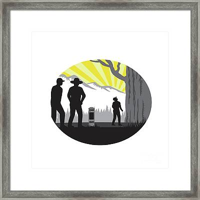 Trampers Mile Marker Giant Tree Oval Woodcut Framed Print