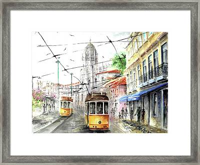 Trams In Belem At Pasteis De Belem Lisbon Framed Print