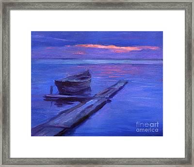 Tranquil Boat Sunset Painting Framed Print by Svetlana Novikova