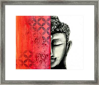 Tranquil Buddha - Charcoal And Ink Drawing Framed Print by SnazzyHues