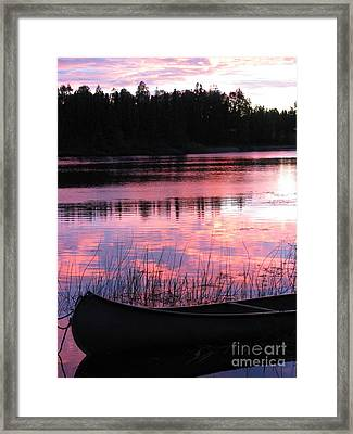 Tranquil Canoe In Sunset Framed Print