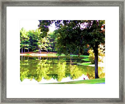 Tranquil Landscape At A Lake 1 Framed Print by Lanjee Chee