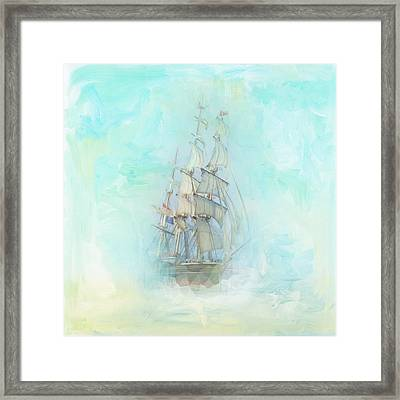Tranquil Shores - Clipper Framed Print by Amanda Lakey