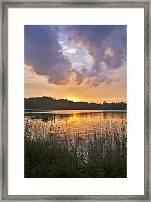 Tranquil Sunset On The Lake Framed Print by Gary Eason