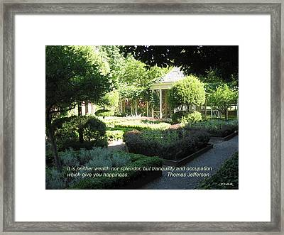 Tranquility And Occupation Framed Print