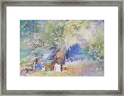 Framed Print featuring the painting Tranquility At The Brandywine River by Mary Haley-Rocks