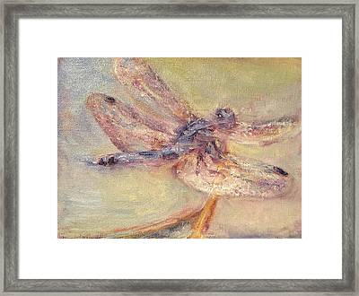 Tranquility - Dragonfly Painting - Impressionist Original Framed Print