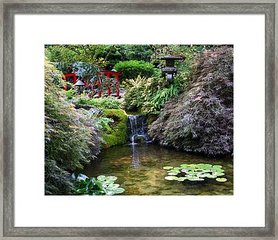 Tranquility In A Japanese Garden Framed Print by Laurel Talabere