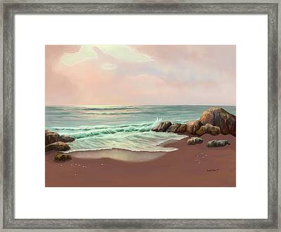 Framed Print featuring the painting Tranquility Of The Sea by Sena Wilson