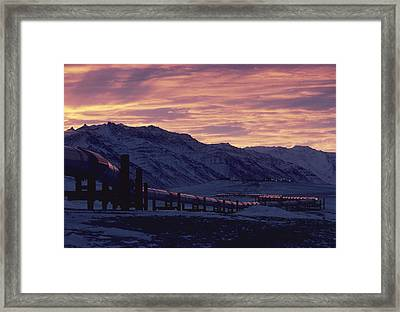 Trans Alaska Pipeline At Dawn Framed Print