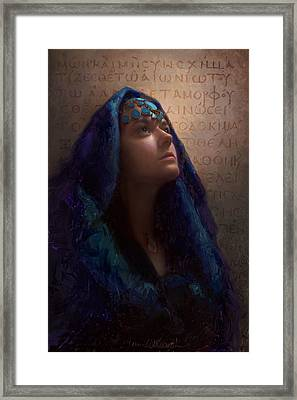 Transformation - Woman With Romans 12 2 Written In Original Greek  Framed Print by Karen Whitworth